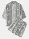 Mens All Over Crane Pirnt Ethnic Style Open Front Kimono Two Piece Outfits - Gray