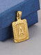 Vintage Gold Square Stainless Steel Letter Pattern Pendant - A