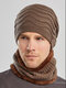 Men 2PCS Embroidered Plus Velvet Thick Winter Outdoor Neck Protection Headgear Scarf Knitted Hat Beanie - Khaki