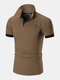 Mens Deer Chest Embroidery Contrast 100% Cotton Casual Golf Shirts - Coffee