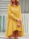 Casual Solid Color A-Line Pockets Loose Pleated Dress - Yellow