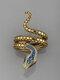 Vintage Snake-Shaped Unisex Ring Open Adjustable Multilayer Alloy Men Women Jewlery - Gold
