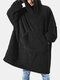 Flannel Thicken Warm Blanket Hooded Cozy Soft Oversized Robes Homewear Top With Kangaroo Pocket - Black