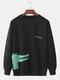 Mens Cartoon Crocodile & Letter Print Plain Casual Loose Long Sleeve Sweatshirts - Black