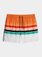 Mens Ombre Striped Quick Dry Lined Holiday Drawstring Swim Trunks - Orange