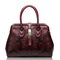 Genuine Leather Shoulder Bag Embossed Women Bag New Fashion Flowers Printed Totes Bags - Red