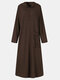 Women Solid Color Pocket Button Long Sleeve Hooded Casual Dress - Coffee