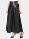 Solid Color Leather Zipper Long Casual Skirt for Women - Black