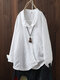 Vintage Solid Color Irregular Button Lapel Plus Size Shirt - White