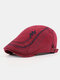 Men Cotton Letter Embroidery Cap Outdoor Leisure Wild Forward Hat Flat Cap - Wine Red