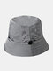 Unisex Cotton Camouflage Solid Climbing Outdoor Sunshade Adjustable Bucket Hat - Gray