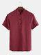 Men Soild Chinese Button V-neck Short Sleeve Henley Shirt - Red