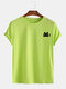 Mens Cotton Cute Cat Solid Color Casual O-Neck Short Sleeve T-Shirt - Green
