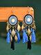 Aleación Bohemia Exagerada Borla Ovalada Textura Gota Hoja Pendientes - azul