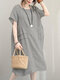 Vestido informal de manga corta con cuello redondo en color soild