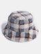 Women & Men Rabbit Fur Plaid Pattern Plus Thicken Warm Windproof Soft All-match Travel Bucket Hat - Grey