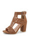 Women Casual Hollow Out Solid Color Peep-toe Pumps Shoes Back-zip Chunky Heels - Brown