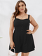 Solid Color Sleeveless Button Plus Size Shorts Jumpsuit for Women - Black