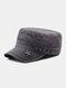Men Denim Embroidery Print Star Decor Sunshade Outdoor Military Hat Flat Hat Peaked Cap - Gray