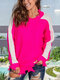 Contrast Color Long Sleeve O-neck Patchwork Ripped Sweater For Women - Rose