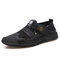 Men Hand Sitching Outdoor Breathable Mesh Leather Sandals - Black