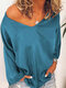 Casual Solid Color Long Sleeve V-neck Plus Size T-shirt - Blue