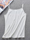 Women Solid Color Seamless Ice Silk Cami Backless Strappy Bandeau Bra - White