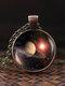 Vintage Glass Gem Women Necklace Universe Starry Sky Pendant Necklace Jewelry - #02
