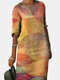 Print Colorful Loose Casual Dress For Women - Yellow