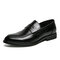 Men Comfy Round Toe Business Casual Formal Dress Shoes - Black