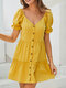 Women Fungus Solid Color V-neck Button Short Sleeve Casual Dress - Yellow