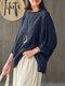 ヴィンテージチェック柄長袖プラスサイズポケット付きだぶだぶブラウス - 青い