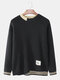 Mens Brief Style Crew Neck Loose Casual Knitted Pullover Sweater - Black