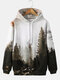 Mens Forest Landscape Printed Casual Drawstring Hoodies With Pouch Pocket - Green