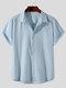 Plus Size Mens Cotton Solid Concealed Placket Plain Casual Short Sleeve Shirts - Blue
