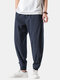 Mens Cotton Linen Vertical Stripe Casual Drawstring Elastic Cuff Pants With Buckles - Navy