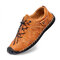 Men Hand Stitching Comfy Non Slip Wide Fit Elastic Lace-up Casual Shoes - Brown