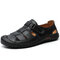 Men Cow Leather Hand Stitching Non Slip Soft Sole Casual Sandals - Black