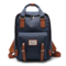 Women Canvas Casual Patchwork Large Capacity Backpack - Dark Blue