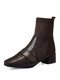 Women Fashion Chunky Heel British Style Squared Toe Leather Stitching Knitted Sock Short Boots - Brown