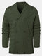 Mens Solid Color Knitted Double Breasted Thick Warm Sweater Cardigan - Army Green