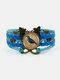Vintage Wwoven Printed Bird Women Bracelet Multilayer Butterfly Pendant Bracelet - Blue