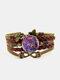Vintage Purple Cat Pattern Print Butterfly Braided Gemstone Multi-layer Bracelet - Brown