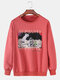 Mens Cotton Astronaut Graphic Box Print Solid Casual Loose Pullover Sweatshirt - Pink