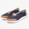 Women Hollow Leather Slip On Solid color Soft Sole Flats Shoes - Blue