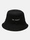Unisex Cotton Letter Pattern Embroidery Solid Color Simple Bucket Hat - Black