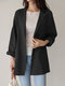 Casual Solid Color Lapel Long Sleeve Plus Size Jackets with Button - Black