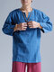Mens Cotton Ethnic Solid Casual Long Sleeve T-Shirt - Blue