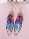 Vintage S925 Sterling Silver Butterfly Long Cicada Wings Gradient Earrings - 27