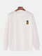 Mens Casual Loose Solid Color Pullover Sweatshirts With Cartoon Pineapple - White